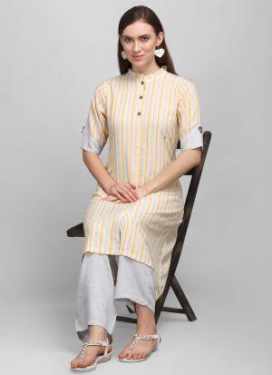 3-4 Sleeves Cream Printed Pant Style Kurti