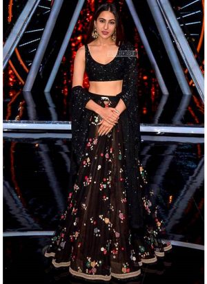 Sara Ali Khan Black Gorgette Zari Work Lehenga Choli With Gorgette Dupatta