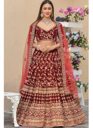 9000 Velvet Maroon Lehenga Choli For Wedding Function