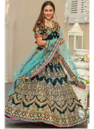 9000 Velvet Morpich Indian Bridal Lehenga Choli Collection