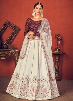 Adorable Pearl White Art Silk Lehenga Choli