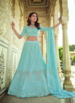 Adorable Sky Blue Lehenga Choli