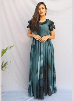 Adorable Teal Green Georgette Dress