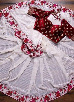 Adorable White Sequence Work Saree