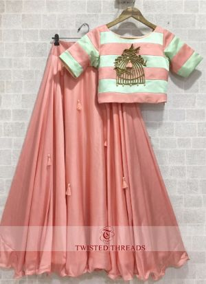 Adoring Embroidered Peach Silk Lehenga Choli