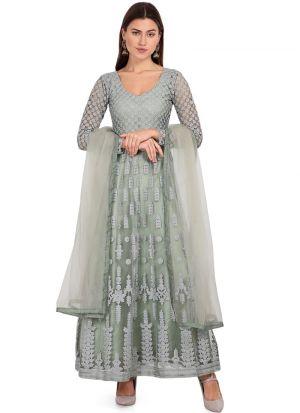 Adorning Pista Green Net Salwar Suit