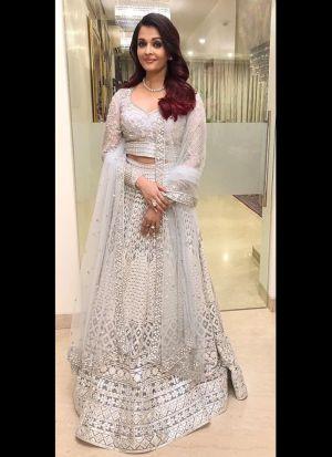 Aishwarya Rai White Satin Net Lehenga