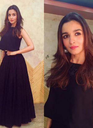 Alia Bhatt Style Black Georgette Thread Embroidered Lehenga Choli