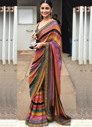 Alia Bhatt Style Multi Digital Printed Georgette Saree