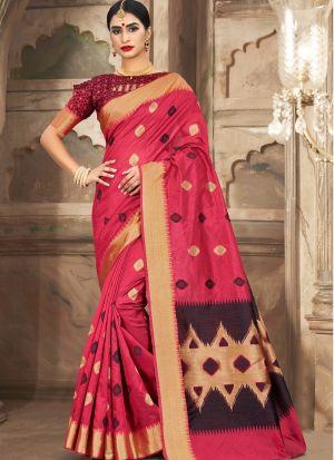 Amazing Pink Cotton Handloom Designer Sarees