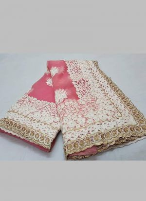 Amazing Salmon Pink Embroidered Work Wedding Saree