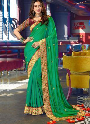 Aqua Green Rangoli Silk Traditional Wear Saree