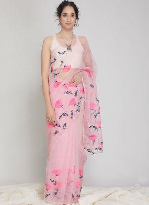 Attractive Digital Print Baby Pink Organza Silk Saree