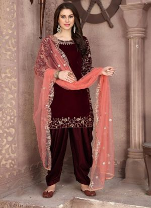 Attractive Embroidered Maroon Velvet Salwar Suit