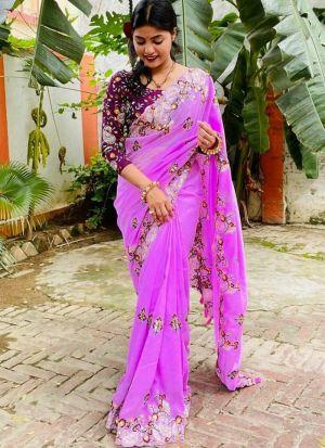 Attractive Fuchsia Vichitra Silk Saree