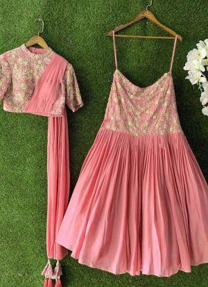 Attractive Look Baby Pink Georgette Lehenga Choli