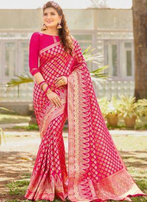 Attractive Magenta Pink Kanjivaram Silk Saree