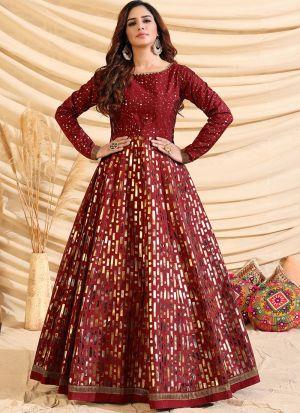 Attractive Maroon Taffeta Silk Gown