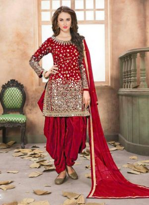 Attractive Mirror Work Festive Wear Salwar Suit