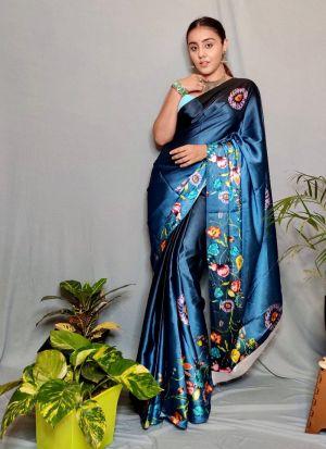 Attractive Navy Blue Digital Printed Saree