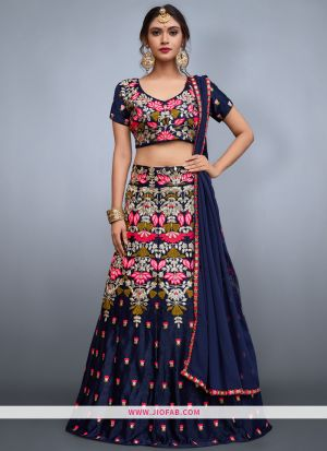 Attractive Navy Embroidered Velvet Silk Partywear Lehenga