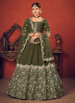 Attractive Olive Green Art Silk Lehenga Choli