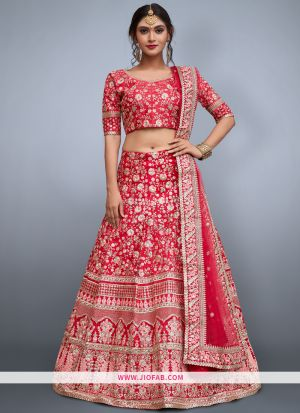 Attractive Pink Embroidered Art Silk Festival Lehenga