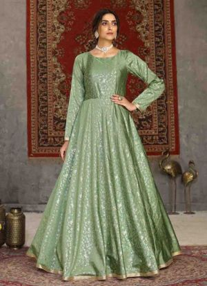 Attractive Pista Green Gown For Party