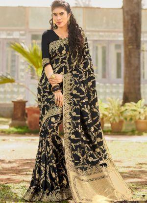 Attractive Silk Black South Indian Sarees