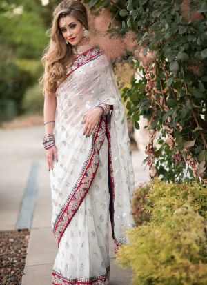 Attractive White Georgette Paper Mirror Work Saree
