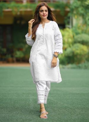 Attractive White Pc Cotton Chain Stitch Work Suit
