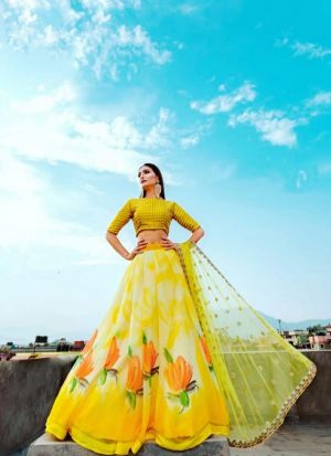 Attractive Yellow Georgette Silk Flower Printed Lehenga Choli