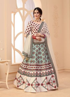Authentic Beige Art Silk Lehenga Choli
