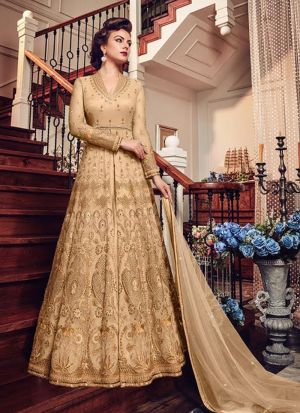 Authentic Heavy Net Embroidered Slit Anarkali Suit