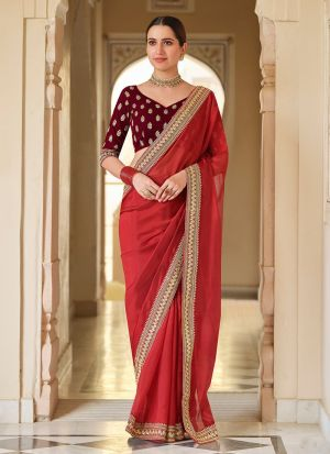 Authentic Red Sequence Organza Saree