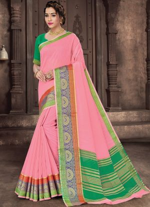 Baby Pink Cotton Weaving Saree
