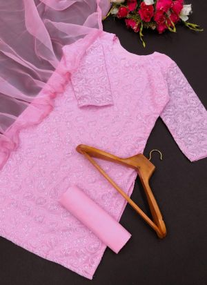 Baby Pink Georgette Fancy Thread Work Suit