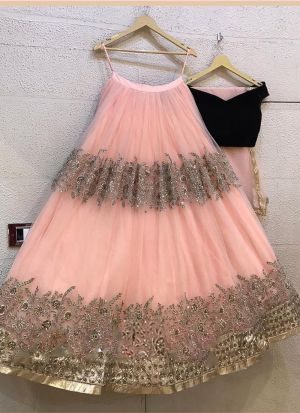 Baby Pink Heavy Butterfly Net Lehenga Choli