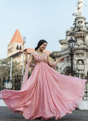Baby Pink Heavy Georgette Gown