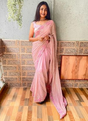 Baby Pink Heavy Georgette Party Wear Stylish Saree