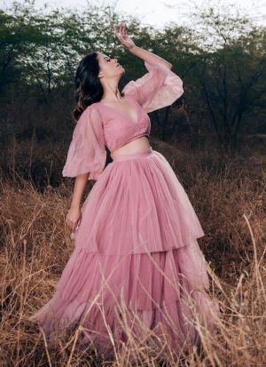 Baby Pink Net Stylish Lehenga Choli