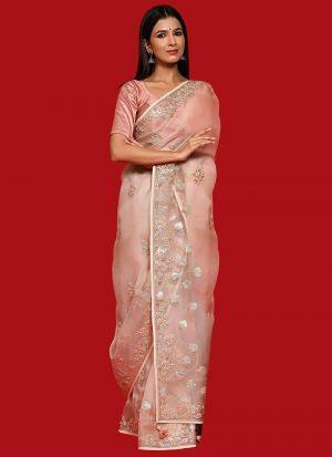 Baby Pink Organza Silk Thread Work Saree