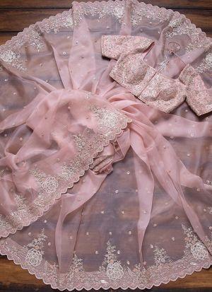 Baby Pink Organza Wedding Wear Saree
