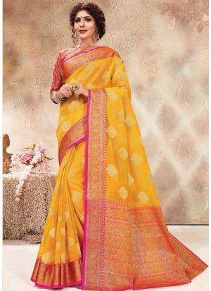 Banarasi Kora Silk Yellow Latest Wedding Saree Collections