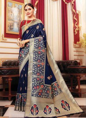 Banarasi Silk Navy Traditional Wedding Saree Collection