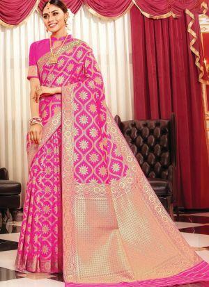 Banarasi Silk Pink Indian Wedding Saree Collection