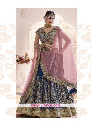 Bangalory Silk Blue Partywear Designer Lehenga With Soft Net Dupatta