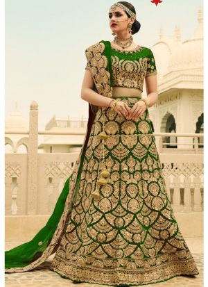 Basil Green Designer Wedding Wear Phantom Silk Lehenga Collection