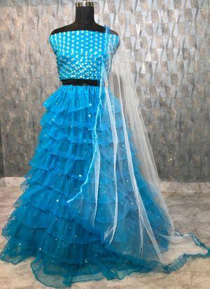 Beautiful Aqua Blue Soft Mono Net Zari Embroidered Lehenga Choli