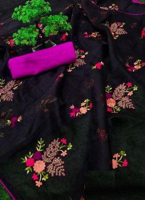 Beautiful Black Organza Piping Work Saree